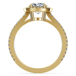 Split Shank Pave Halo Diamond Engagement Ring in Yellow Gold | Thumbnail 02