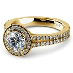 Split Shank Pave Halo Diamond Engagement Ring in Yellow Gold | Thumbnail 04