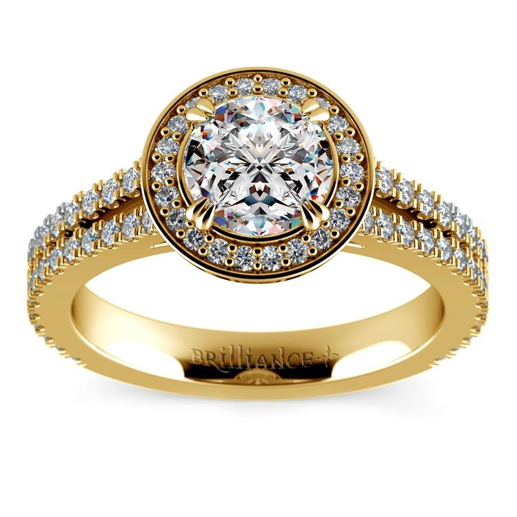 Split Shank Pave Halo Diamond Engagement Ring in Yellow Gold | 01