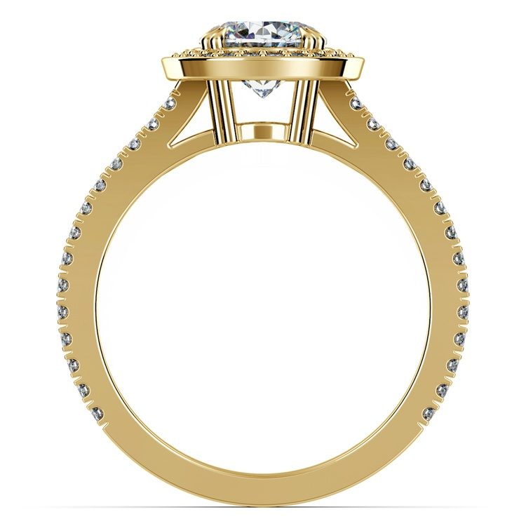 Split Shank Pave Halo Diamond Engagement Ring in Yellow Gold | 02