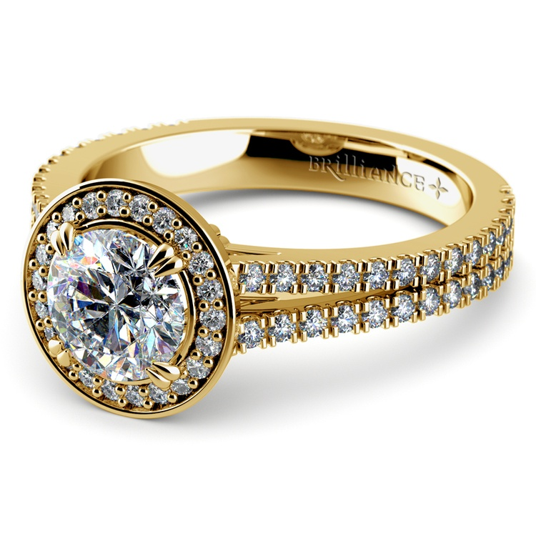 Split Shank Pave Halo Diamond Engagement Ring in Yellow Gold | 04
