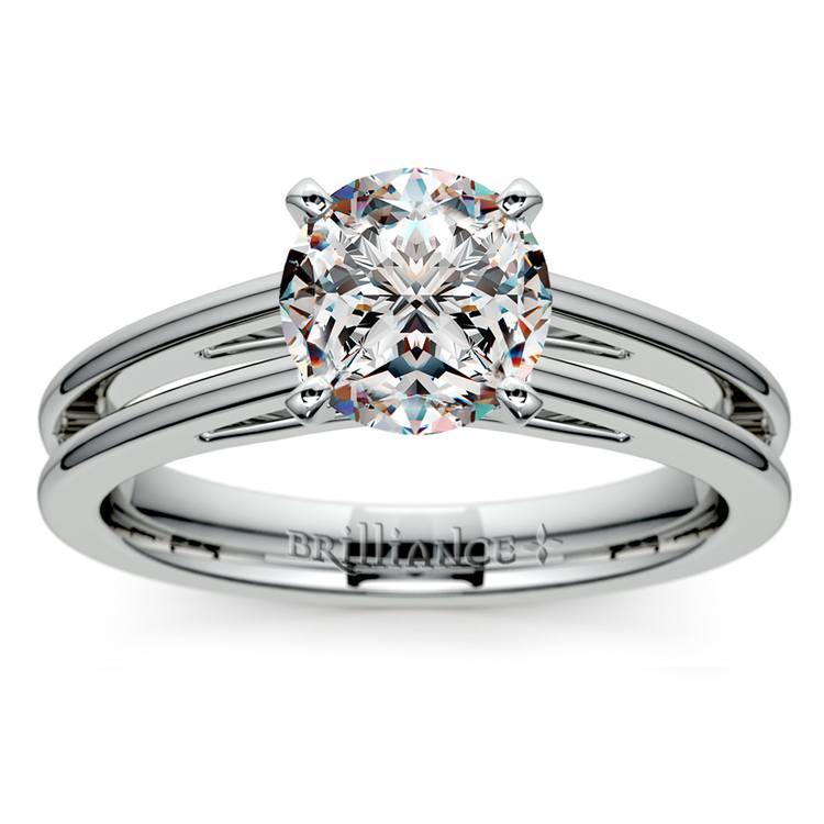 Split Shank Solitaire Engagement Ring in Platinum   01