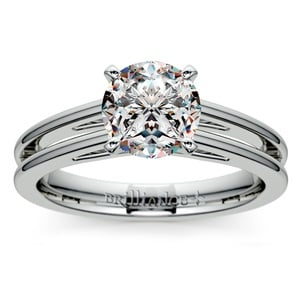 Split Shank Solitaire Engagement Ring in White Gold