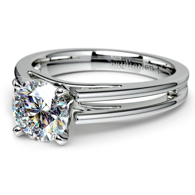 Split Shank Solitaire Engagement Ring in White Gold | 04