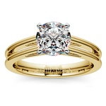 Split Shank Solitaire Engagement Ring in Yellow Gold | Thumbnail 01