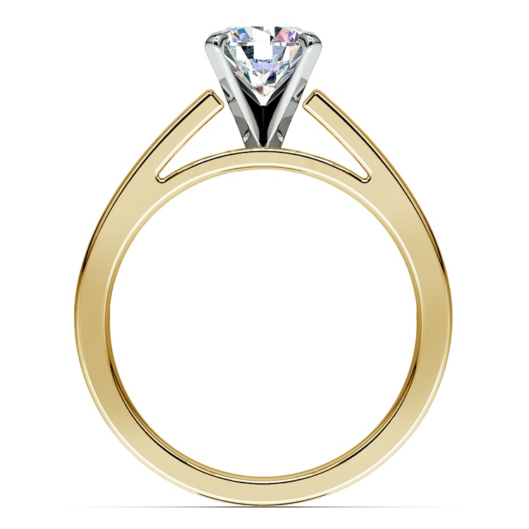 Split Shank Solitaire Engagement Ring in Yellow Gold | 02