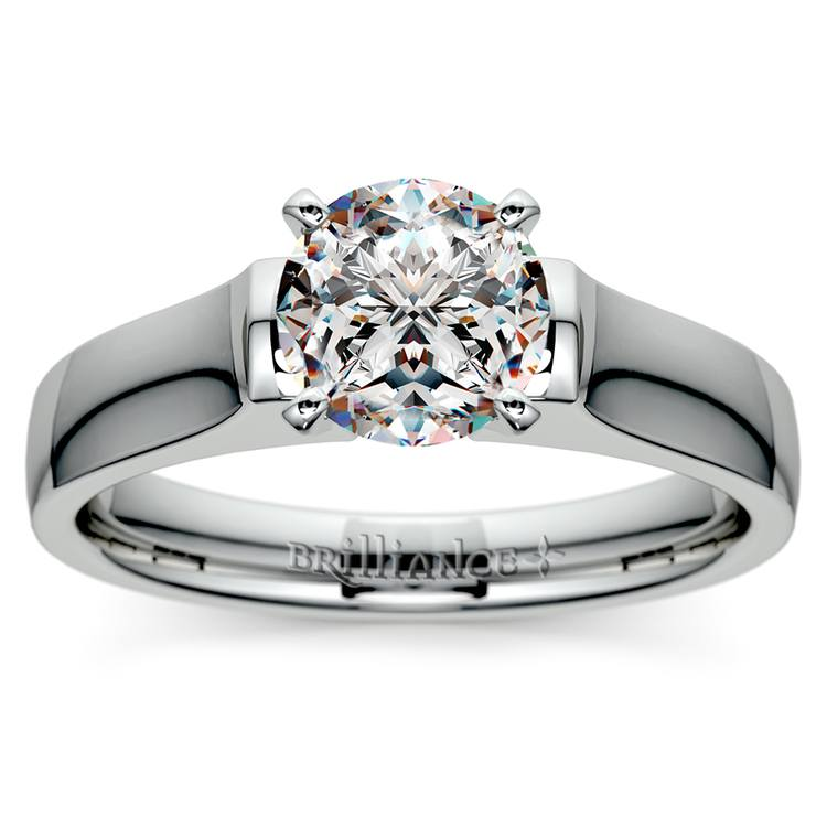 Square Contour Solitaire Engagement Ring in White Gold | 01