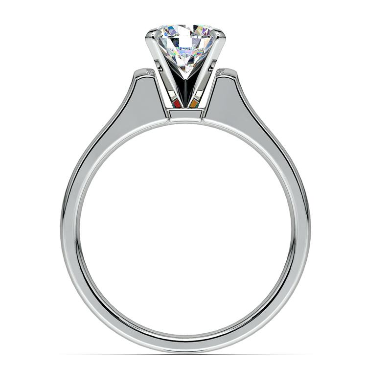 Square Contour Solitaire Engagement Ring in White Gold | 02