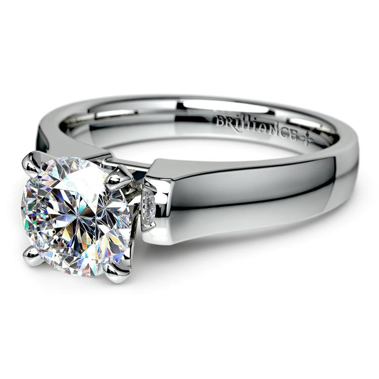 Square Contour Solitaire Engagement Ring in White Gold | 04