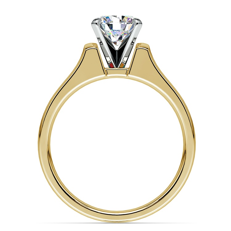 Square Contour Solitaire Engagement Ring in Yellow Gold | 02