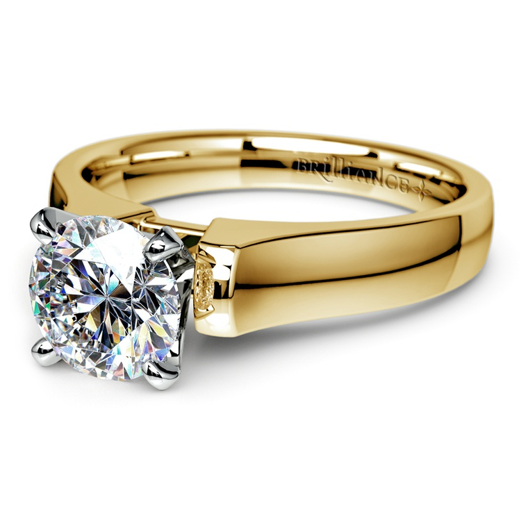 Square Contour Solitaire Engagement Ring in Yellow Gold | 04
