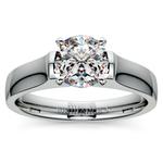 Square Contour Solitaire Engagement Ring in Platinum | Thumbnail 01