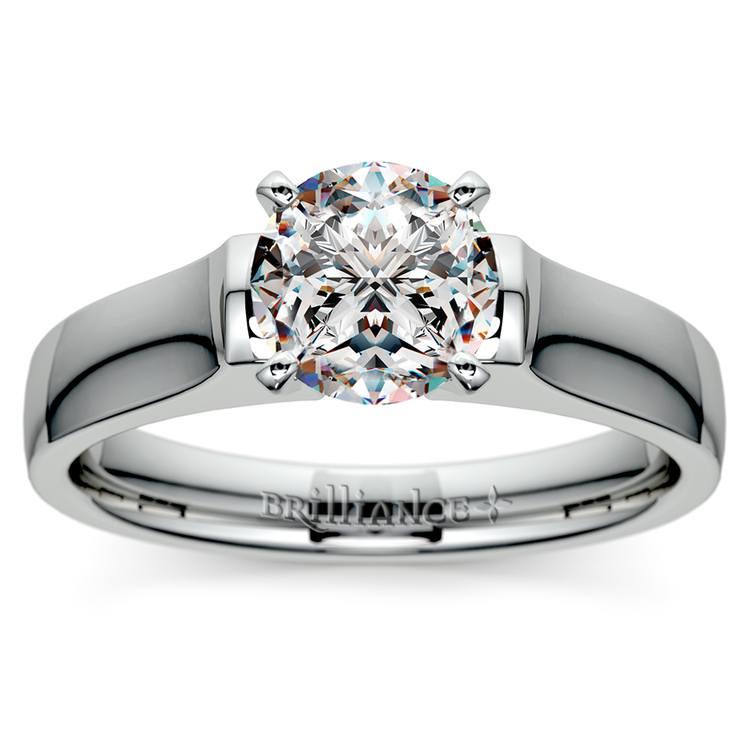 Square Contour Solitaire Engagement Ring in Platinum | 01