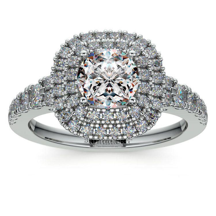 Square Double Halo Diamond Engagement Ring in Platinum   01