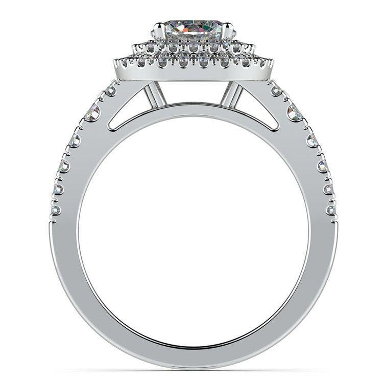 Square Double Halo Diamond Engagement Ring in Platinum   02