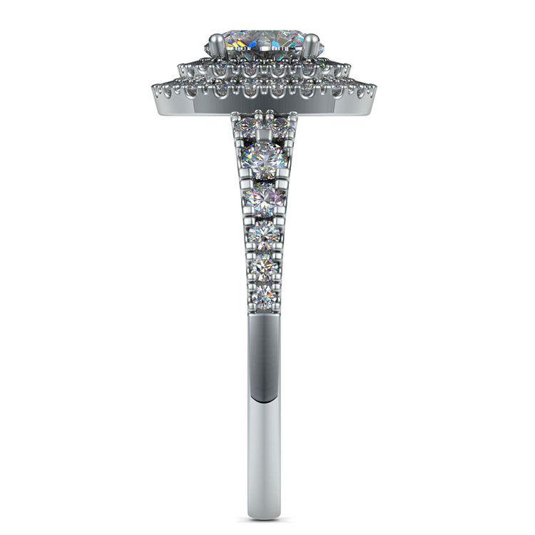 Square Double Halo Diamond Engagement Ring in Platinum   03