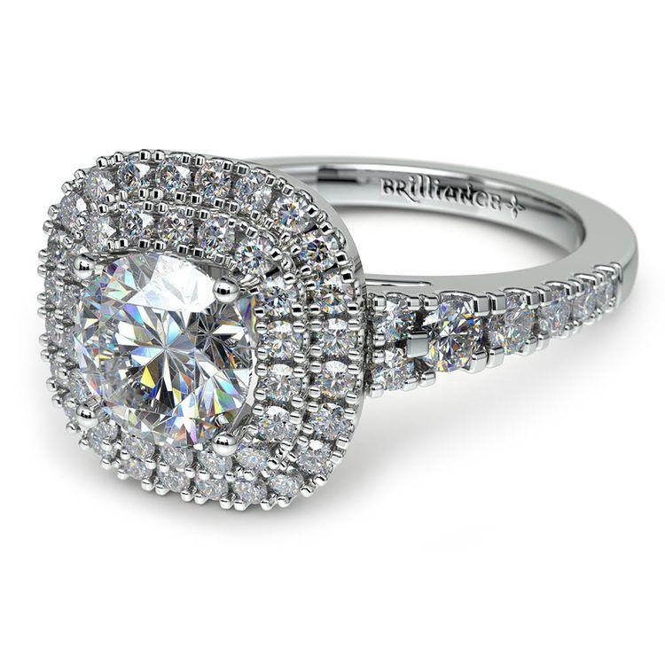 Square Double Halo Diamond Engagement Ring in Platinum   04