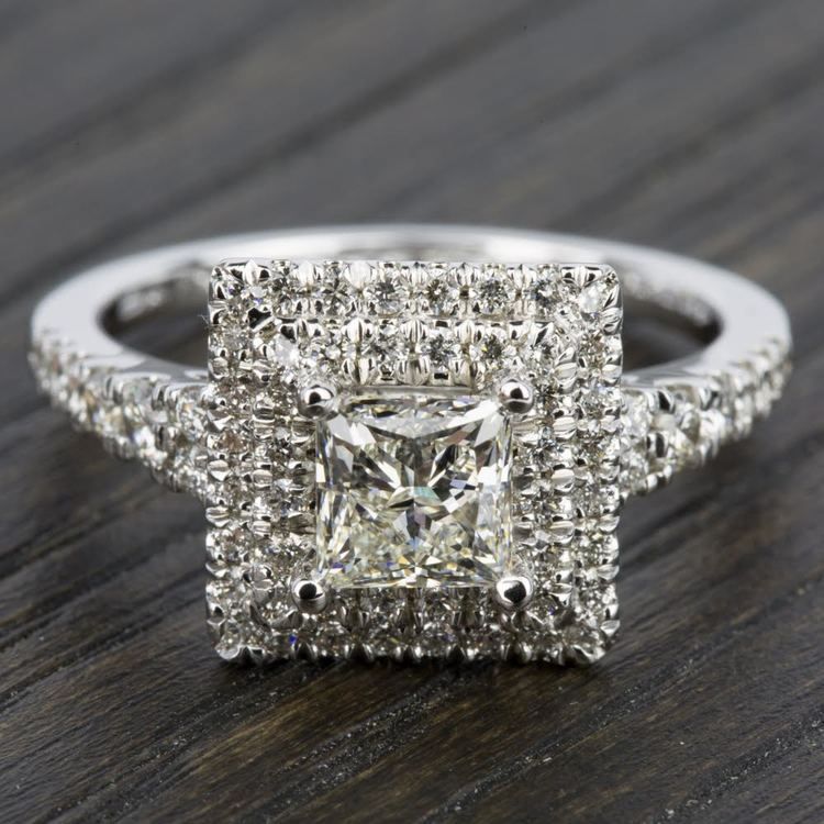 Square Double Halo Diamond Engagement Ring in Platinum | 05