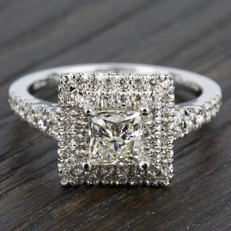 Square Double Halo Diamond Engagement Ring in Platinum   05