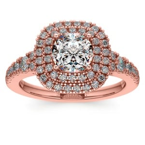Square Double Halo Diamond Engagement Ring in Rose Gold
