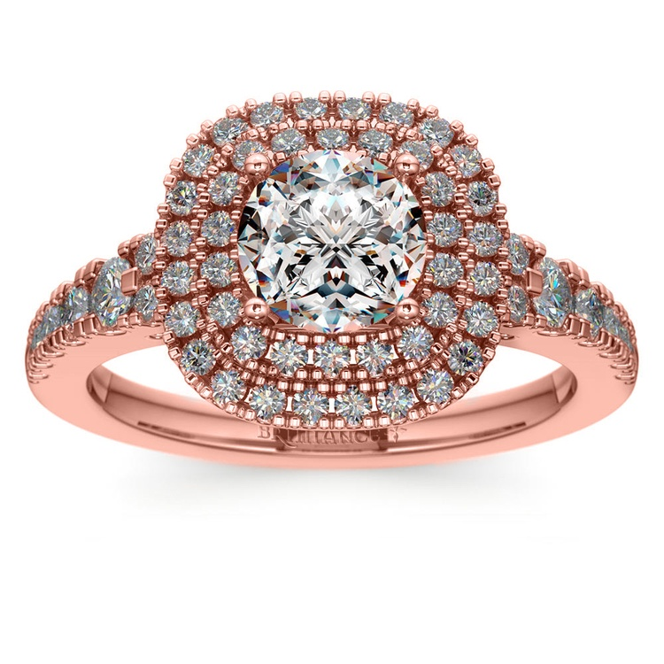 Square Double Halo Diamond Engagement Ring in Rose Gold | 01