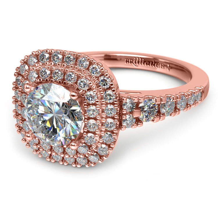 Square Double Halo Diamond Engagement Ring in Rose Gold | 04