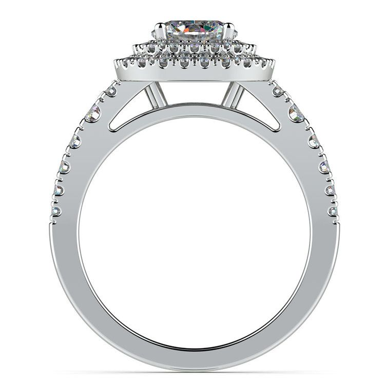 Square Double Halo Diamond Engagement Ring in White Gold | 02