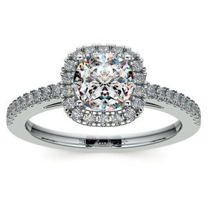 Square Halo Diamond Engagement Ring in Platinum (2/5 ctw)