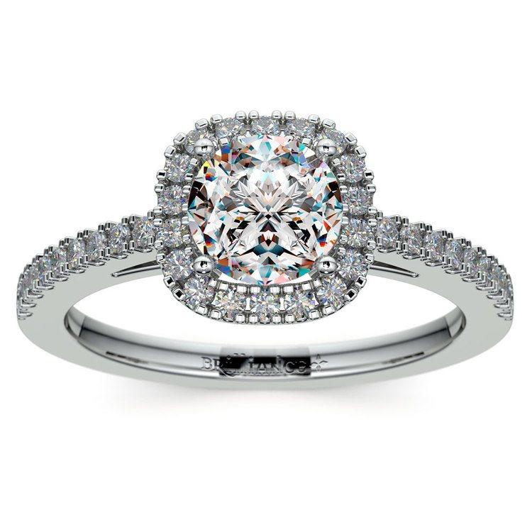 Square Halo Diamond Engagement Ring in Platinum (2/5 ctw) | 01