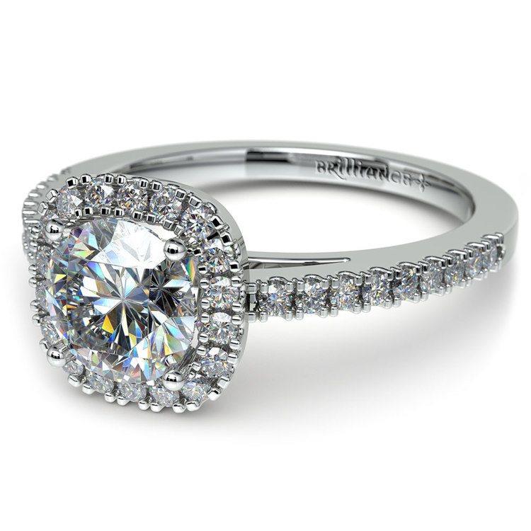 Square Halo Diamond Engagement Ring in Platinum (2/5 ctw) | 04