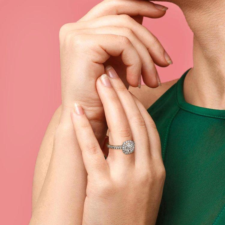 Square Halo Diamond Engagement Ring in Platinum (2/5 ctw)   07