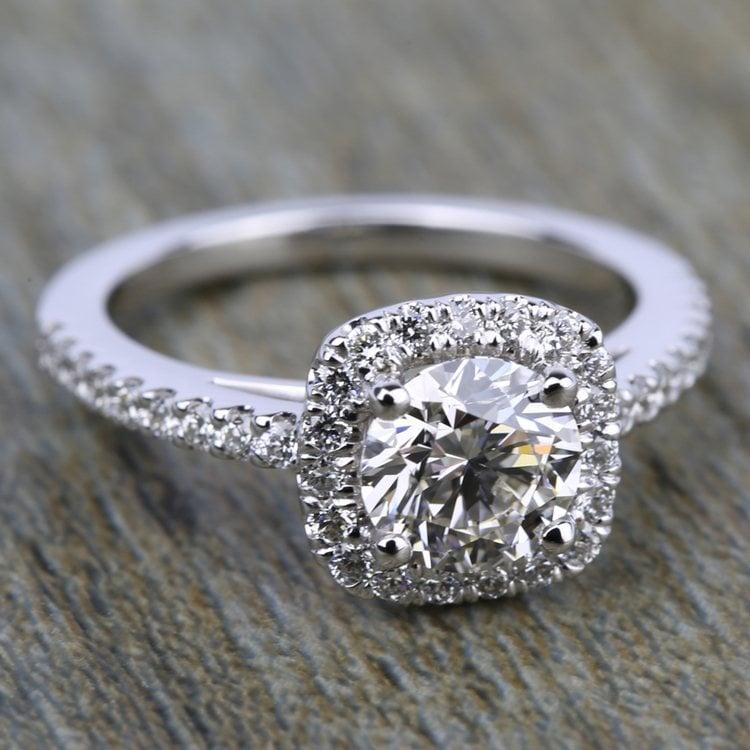 Square Halo Diamond Engagement Ring in Platinum (2/5 ctw) | 05