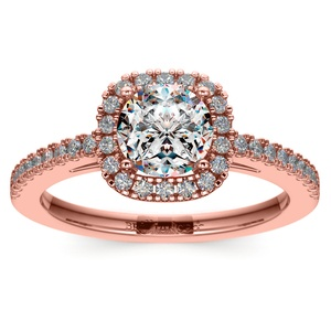 Square Halo Diamond Engagement Ring in Rose Gold (2/5 ctw)
