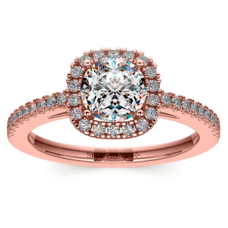 Square Halo Diamond Engagement Ring in Rose Gold (2/5 ctw) | 01