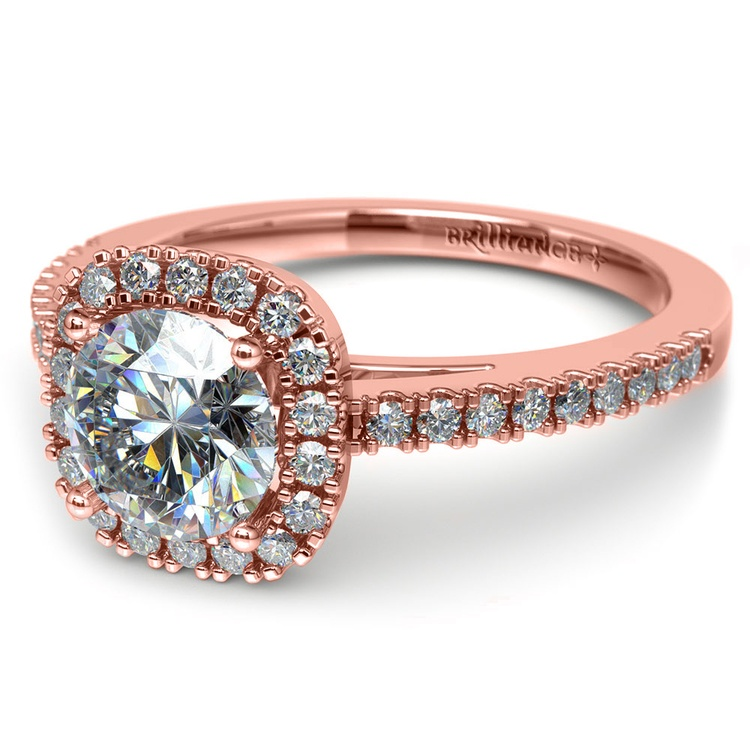 Square Halo Diamond Engagement Ring in Rose Gold (2/5 ctw) | 04