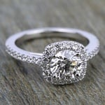 Square Halo Diamond Engagement Ring in White Gold (2/5 ctw) | Thumbnail 05
