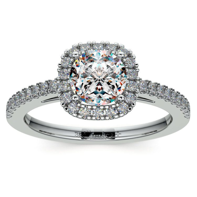 Square Halo Diamond Engagement Ring in White Gold (2/5 ctw) | 01