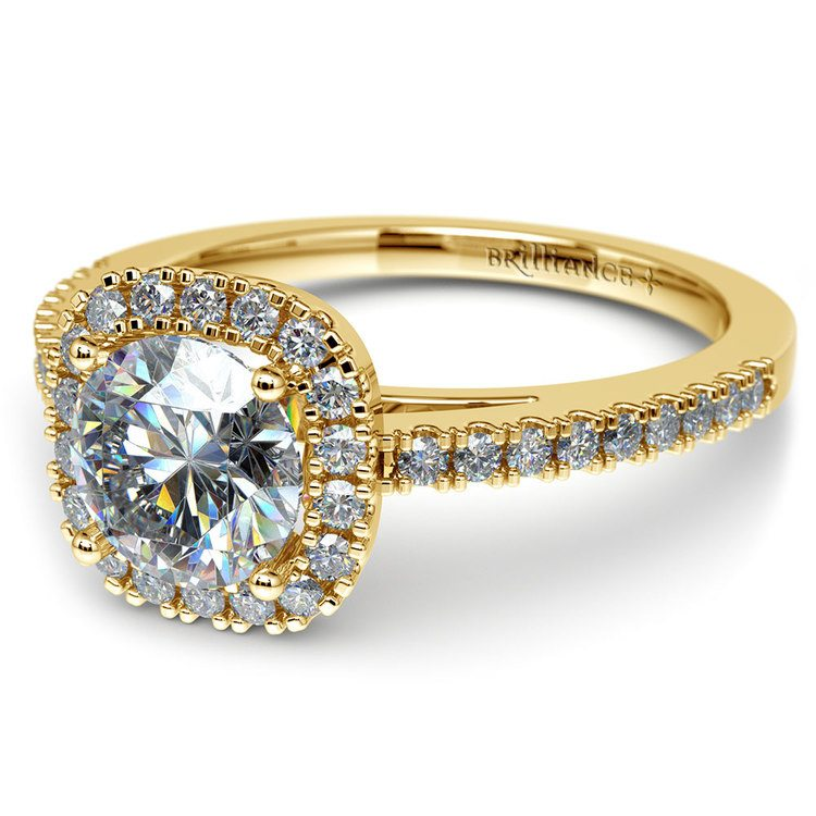 Square Halo Diamond Engagement Ring in Yellow Gold (2/5 ctw) | 04