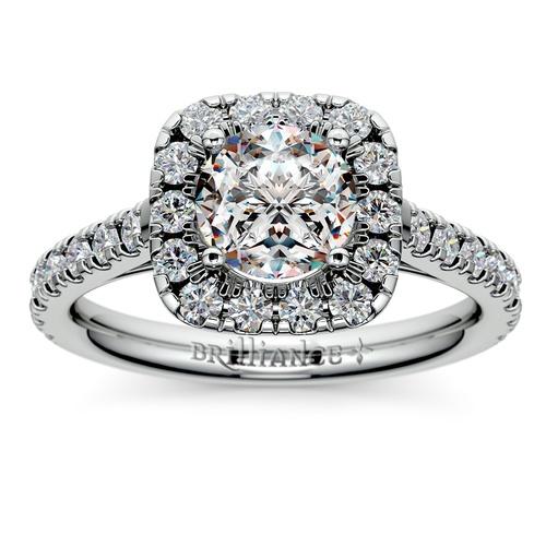 square halo diamond engagement ring in platinum 12 ctw - Square Wedding Ring