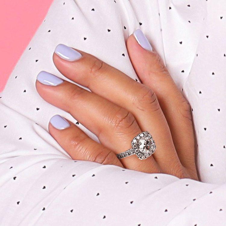 Square Halo Diamond Engagement Ring in Platinum (1/2 ctw) | 06