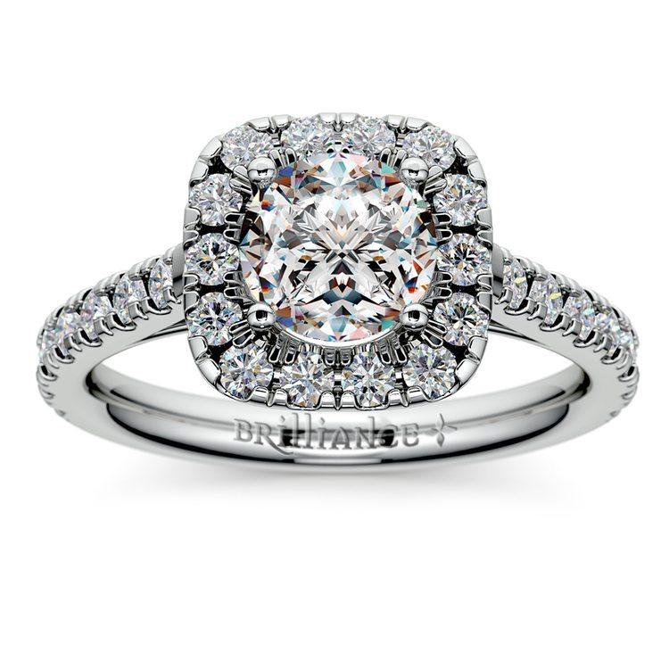 Square Halo Diamond Engagement Ring in Platinum (1/2 ctw) | 01