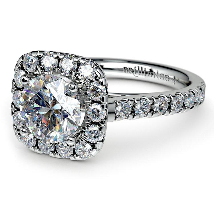 Square Halo Diamond Engagement Ring in Platinum (1/2 ctw) | 04