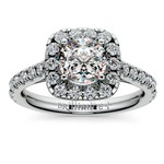 Square Halo Diamond Engagement Ring in White Gold (1/2 ctw) | Thumbnail 01