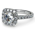 Square Halo Diamond Engagement Ring in White Gold (1/2 ctw) | Thumbnail 04