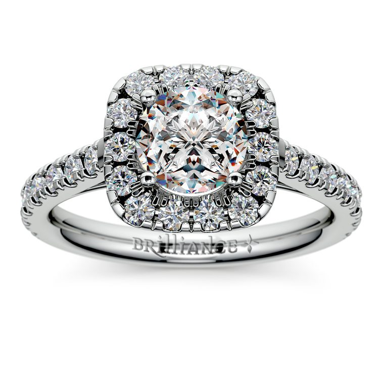 Square Halo Diamond Engagement Ring in White Gold (1/2 ctw) | 01