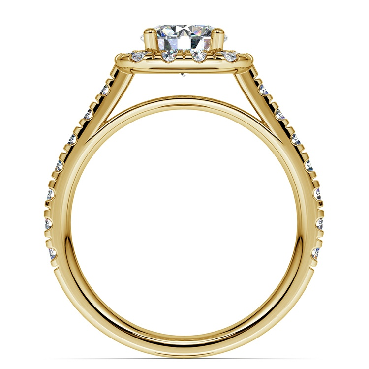 Square Halo Diamond Engagement Ring in Yellow Gold (1/2 ctw) | 02