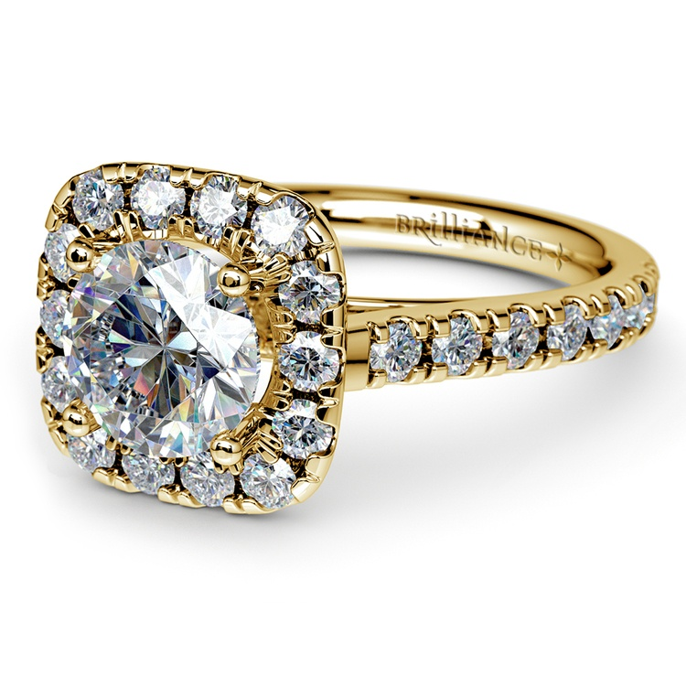 Square Halo Diamond Engagement Ring in Yellow Gold (1/2 ctw) | 04