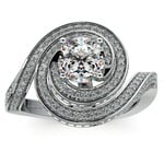 Double Halo Swirling Diamond Engagement Ring in Platinum | Thumbnail 01