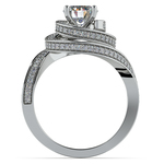 Double Halo Swirling Diamond Engagement Ring in Platinum | Thumbnail 02