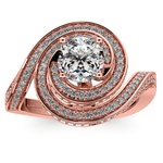Double Halo Swirling Diamond Engagement Ring in Rose Gold | Thumbnail 01